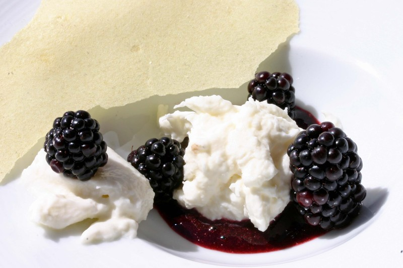 Burratablackberrysmokedvinegarmallowroot